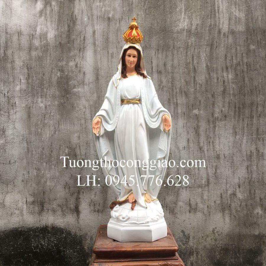 Tượng Đức Mẹ Ban Ơn 90cm Trắng Composite