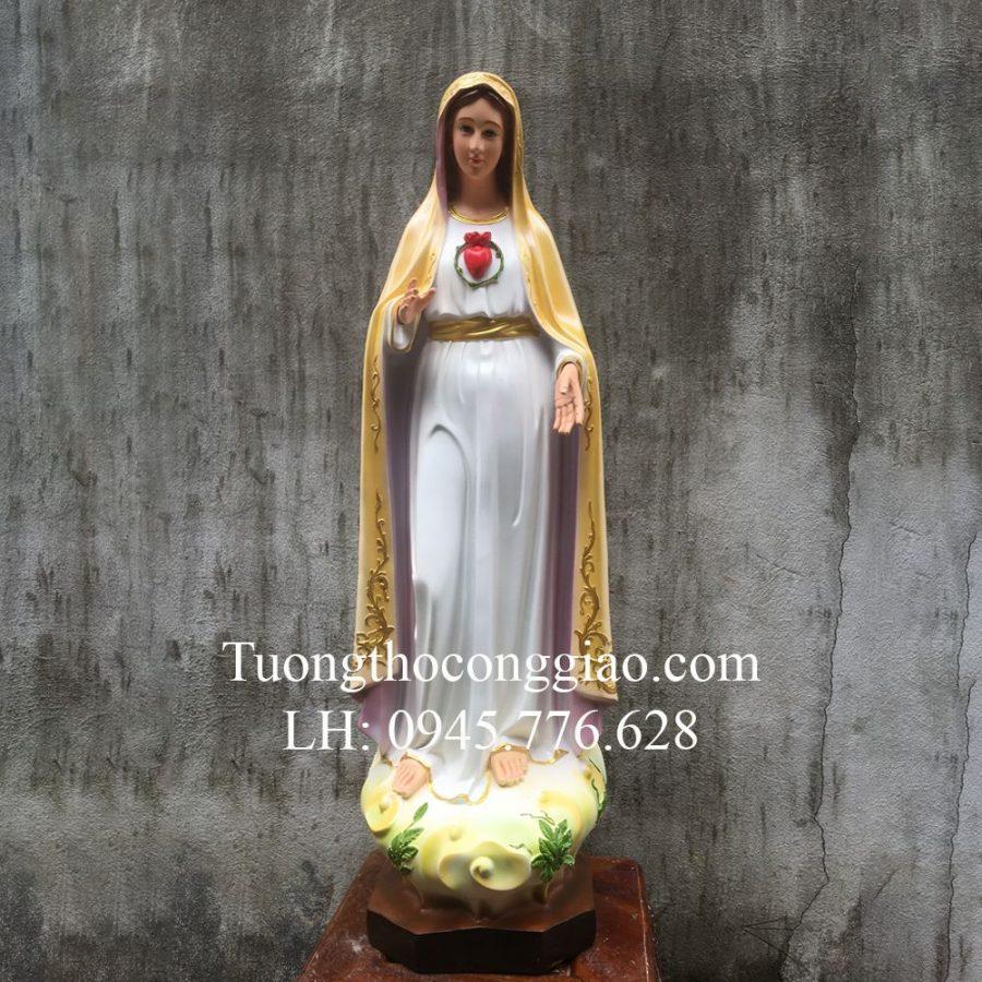 Tượng Đức Mẹ Fatima 80cm màu vàng Composite