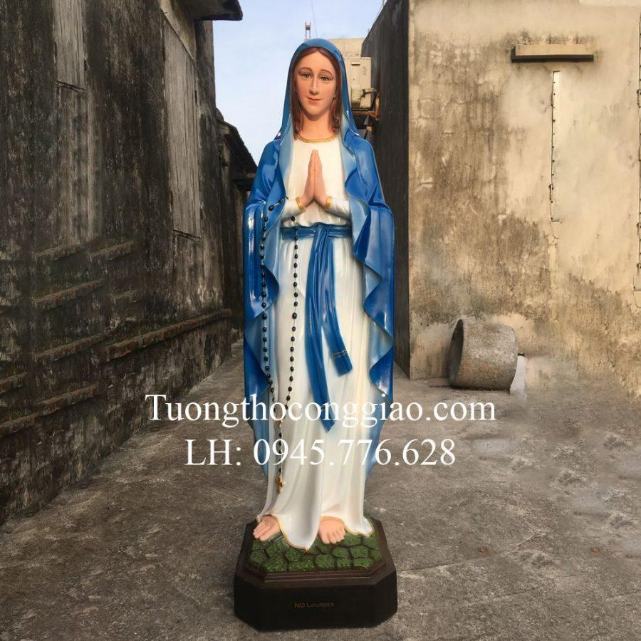 Tượng Đức Mẹ Lộ Đức 1m4 composite màu Xanh