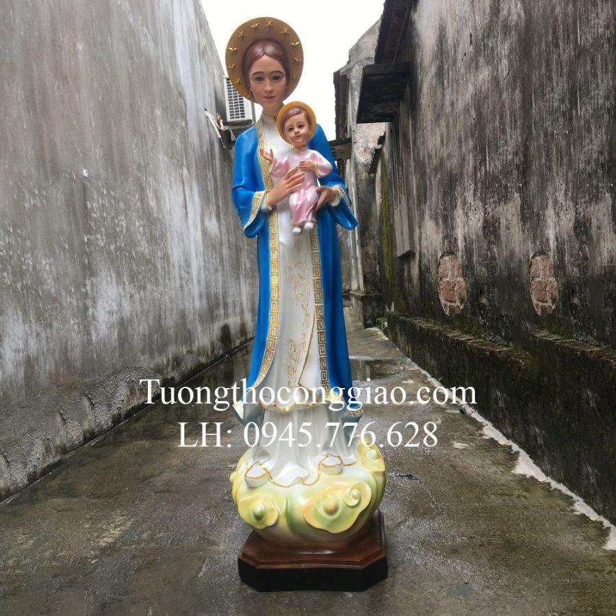 Tượng Đức Mẹ La Vang Việt Nam Xanh 120cm