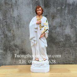 Tượng Thánh Giuse Công Nhân (Giuse Thợ) 40cm Composite Trắng