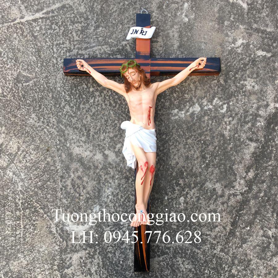 Tượng Chúa Chịu Nạn 50cm thánh giá đen 1