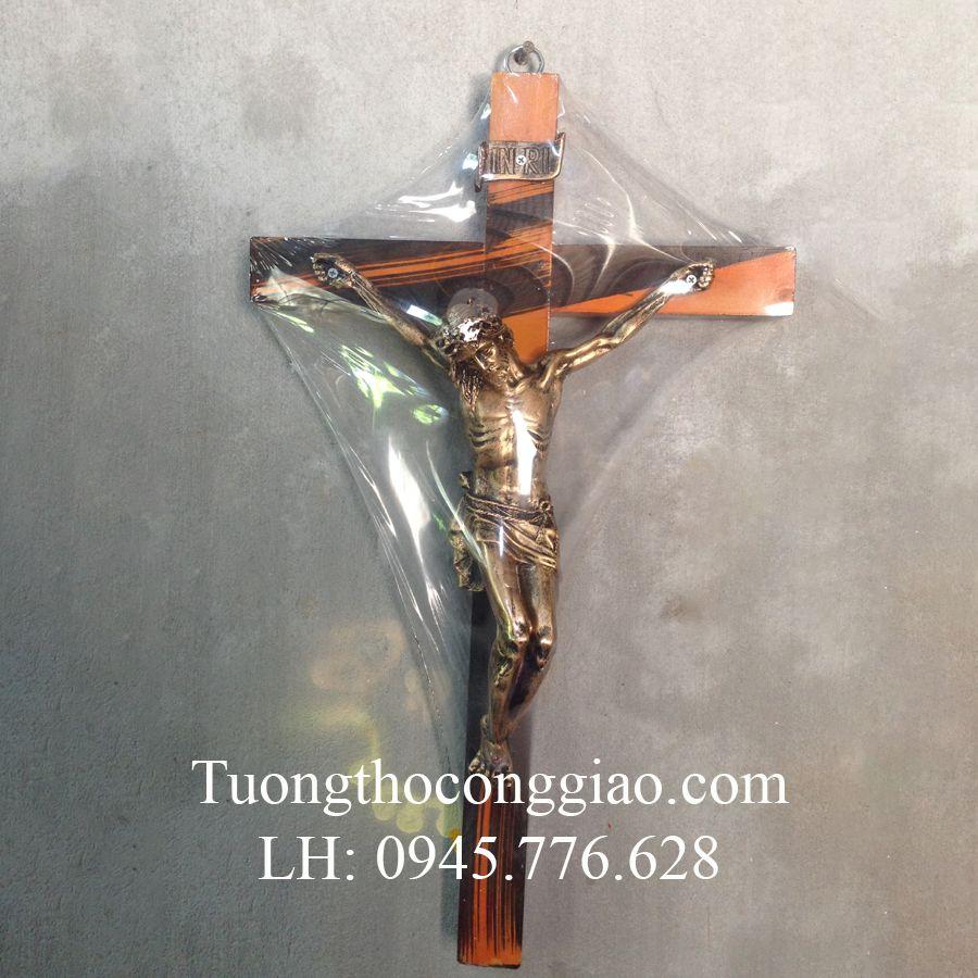 Tượng Thánh Giá Chúa 40cm mạ xi đồng