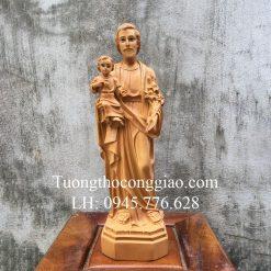 Tượng Thánh Giuse Bế Chúa 40cm giả gỗ