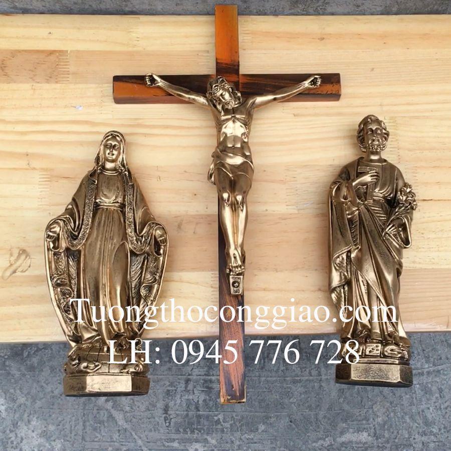 Bộ tượng Bàn Thờ Thiên Chúa 30cm xi đồng