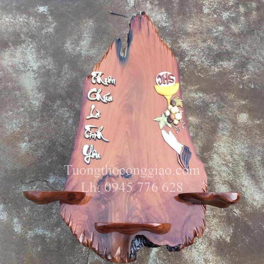 mẫu bàn thờ Công Giáo hiện đại 1m gỗ căm xe 5