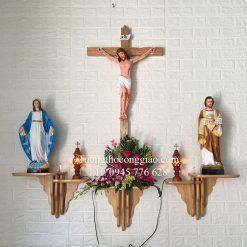 Bàn thờ Công Giáo đẹp bộ 3 bệ bàn tay kép 1