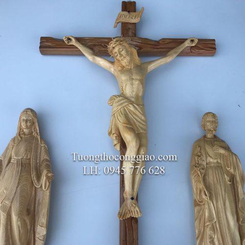 bộ tượng bàn thờ Công Giáo 50 mẹ ban ơn gỗ 1