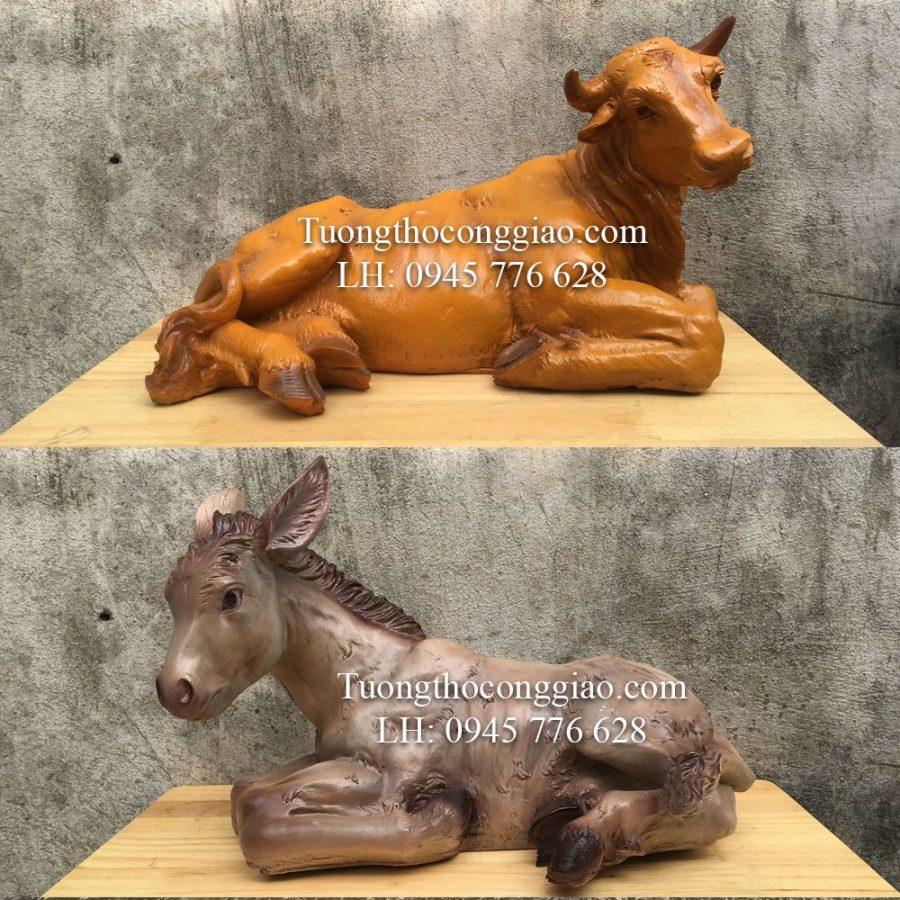 Tượng bò và lừa (Bộ tượng CHúa Giáng Sinh 70cm 7 tượng)